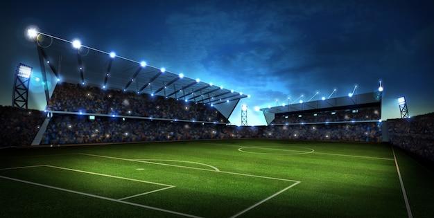 夜のライトとスタジアム。スポーツの背景。 3dレンダリング