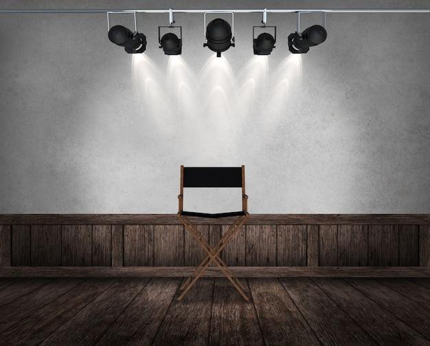室内のヴィンテージの椅子。 3dレンダリング