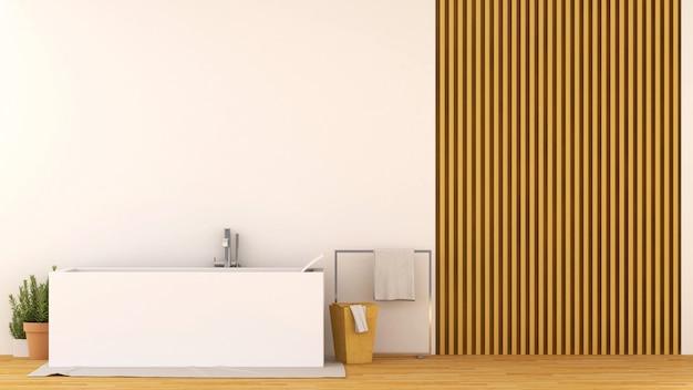 木製のデザインのバスルーム-3dレンダリング