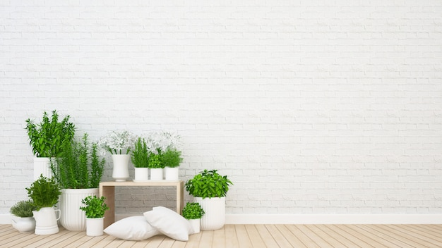 コーヒーショップやカフェの居間と屋内庭 -  3dレンダリング