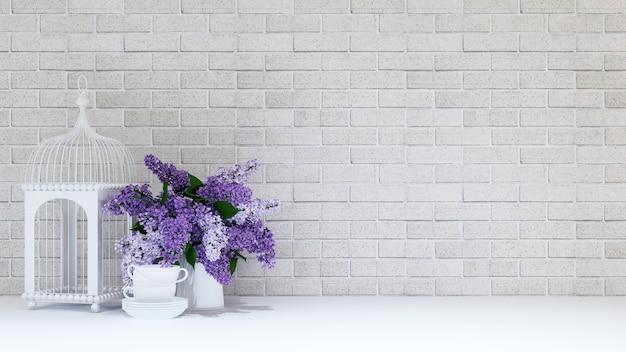 Птичья клетка с вазой из фиолетового цветка и чашкой на фоне кирпича. 3d-рендеринг.