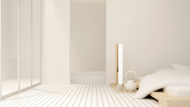アパートまたはホテルの寝室とバルコニー - インテリアデザイン -  3dレンダリング