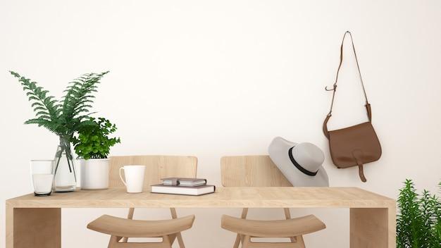コーヒーショップやワークスペースのきれいなデザイン -  3dレンダリング