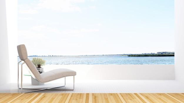 ホテルのテラスと湖の眺めのデイベッド -  3dレンダリング