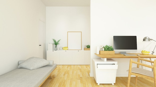 Рабочее место и жилая площадь в доме или кондоминиуме - 3d рендеринг