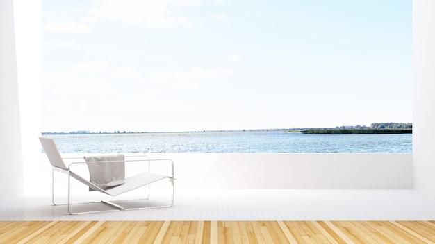 ホテルのテラスの湖の景色とデイベッド -  3dレンダリング