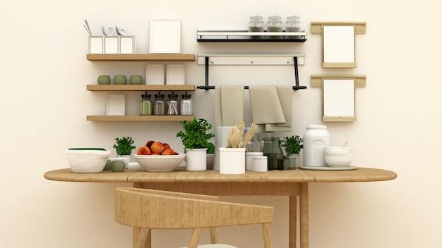 Кухонный гарнитур в кладовой для художественных работ - 3d рендеринг