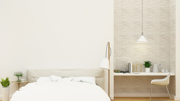 ベッドルームとワークスペースのクリーンなデザイン -  3dレンダリング
