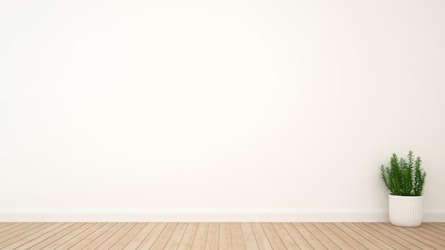 Завод в комнате деревянный пол и место для художественных работ - 3d-рендеринга