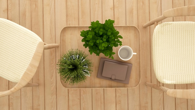 Столовая в кафе или ресторане, вид сверху - 3d рендеринг