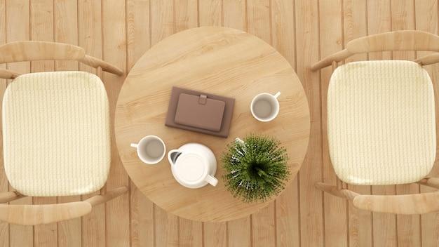 Вид сверху столовой в кафе или ресторане - 3d рендеринг