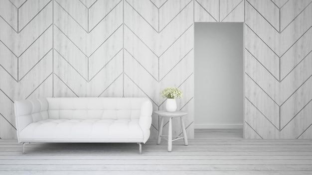 アパートやホテルの黒と白の色調のリビングエリア -  3dレンダリング