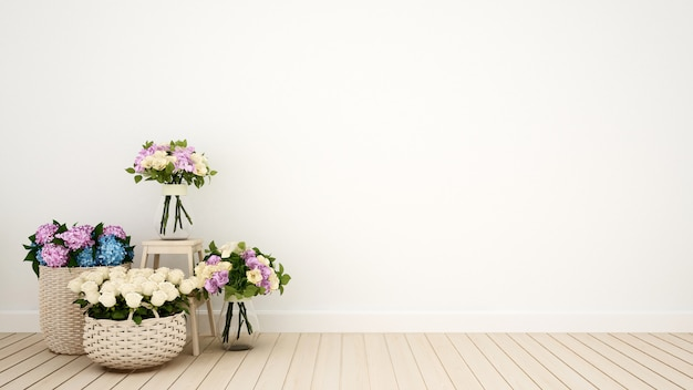 Гостиная или другая комната для украшения цветов - 3d рендеринг