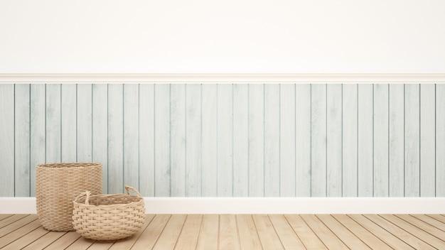 Плетеная корзина в комнате для художественных работ - 3d рендеринг