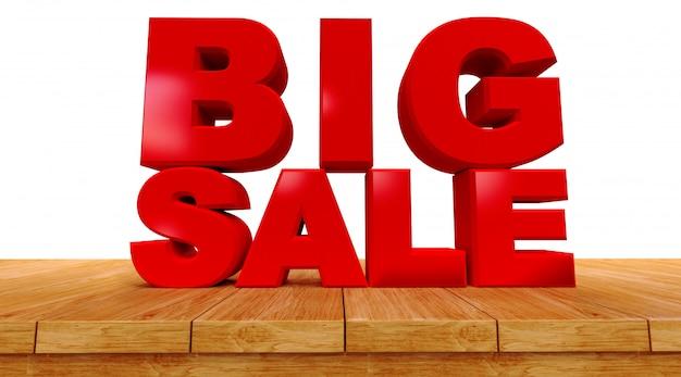 展望の上にテキストの大規模な販売の3dレンダリング木製ボードは、白い背景にします。