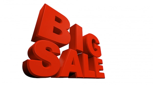 テキストの3dレンダリング大規模な販売は、白い背景にある。