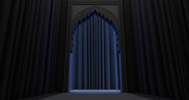 青い光でアラビア語のドアのデザインの3dレンダリング。アラビア語パターンのモスクのドア