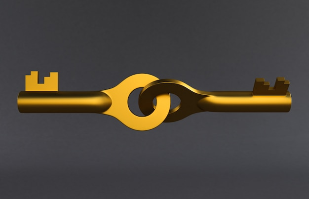 灰色の背景に分離された黄金のドアのキー。 3dレンダリング