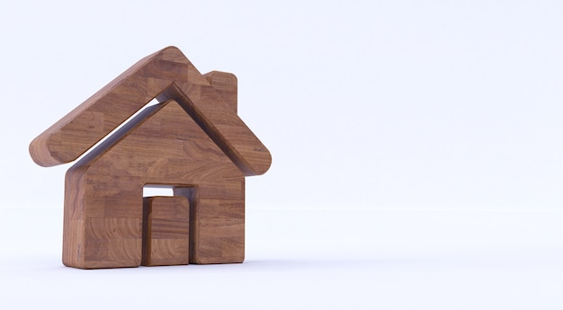 独立した白い背景に木製のホームアイコンの3dレンダリング。