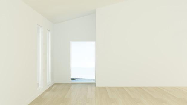 マンションのインテリアの空の壁の背景 -  3dレンダリング