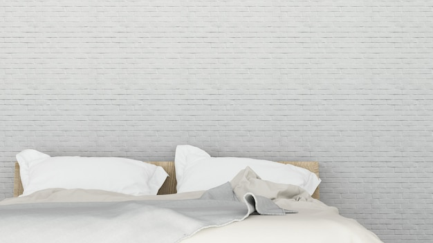 Интерьер минимальной гостиничной спальни 3d рендеринга