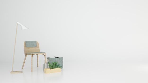 Расслабьтесь пространство на белом фоне интерьер 3d-рендеринга