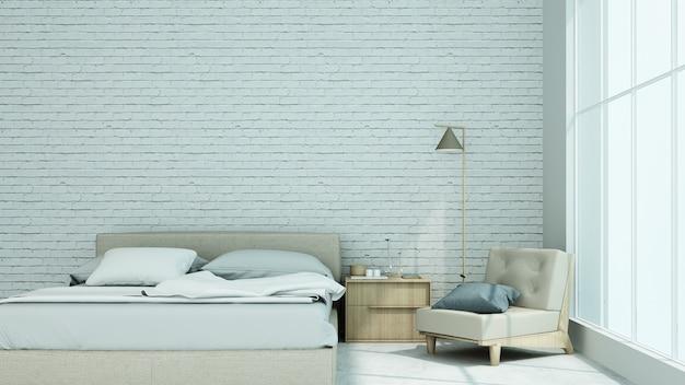 Интерьер в стиле лофта спальня в кондоминиуме - 3d-рендеринг
