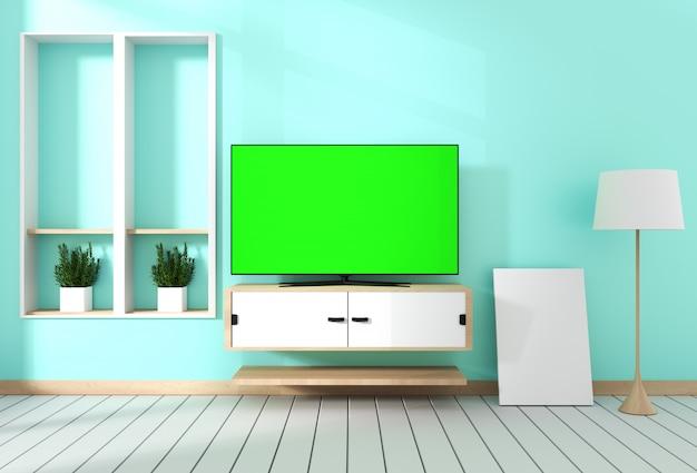 キャビネットのデザインにぶら下がっている空の緑色の画面を持つスマートテレビ。 3dレンダリング