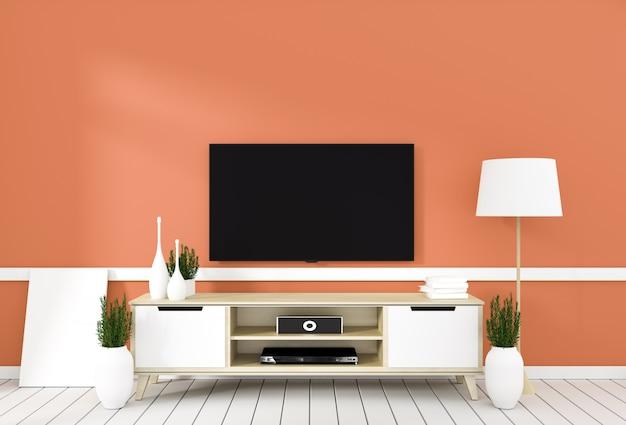 オレンジ色のモダンな部屋、最小限のデザイン、禅スタイルのテレビキャビネット。 3dレンダリング