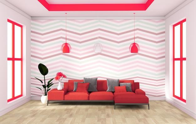 木製の床のインテリアにソファサイドボードと赤い壁のモダンなデザイン。 3dレンダリング