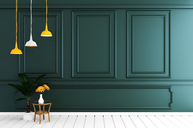 白い木の床で濃い緑色の壁と空の豪華な部屋のインテリア。 3dレンダリング