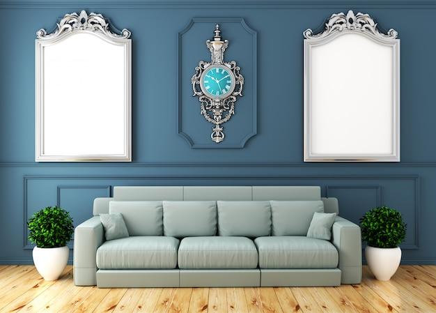 Опорожните роскошный интерьер комнаты с софой в стене комнаты голубой на деревянном поле. 3d рендеринг