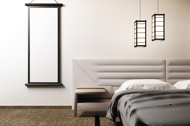 豪華な禅スタイルのベッドルームをモックアップしてください。 3dレンダリング