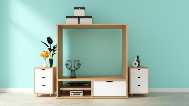 白い木製の床にミントレンガの壁とテレビのキャビネットデザイン。 3dレンダリング