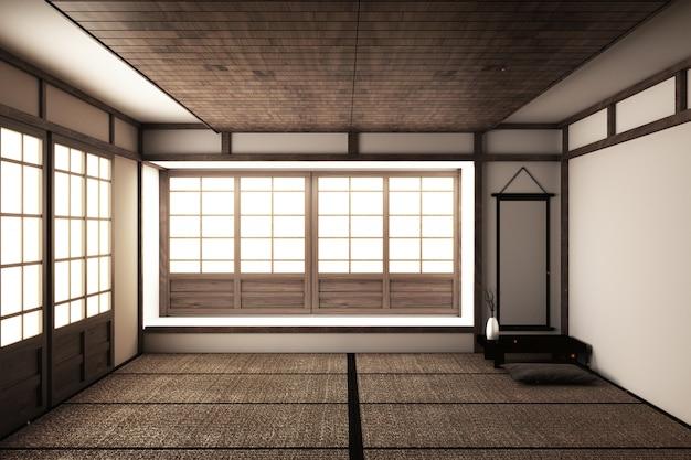 モックアップして、日本の空の部屋の畳を綺麗にデザイン。 3dレンダリング