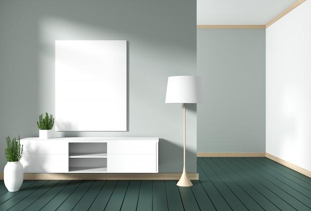 緑のモダンな部屋、ミニマルなデザイン、禅スタイルのテレビキャビネット。 3dレンダリング