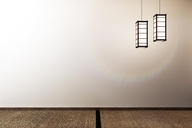 モックアップ、和風のデザイン、空の部屋。 3dレンダリング