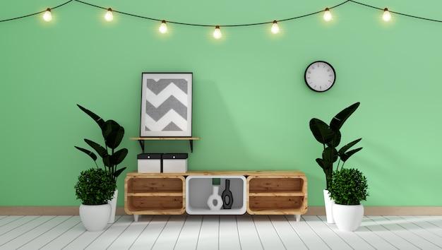 日本の居間の緑の壁のキャビネットモックアップ。 3dレンダリング