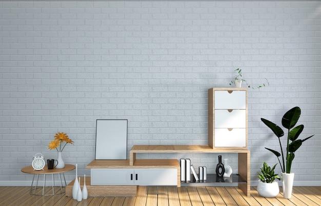 日本の居間のテレビのモックアップ部屋の壁。 3dレンダリング