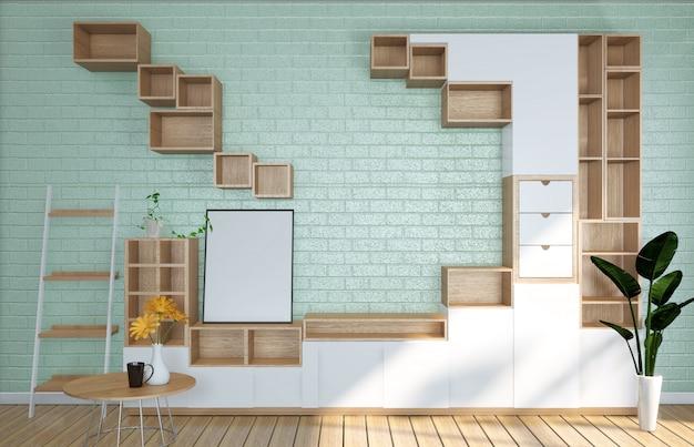 テレビのモックアップルームのミント水色の壁、日本の居間。 3dレンダリング