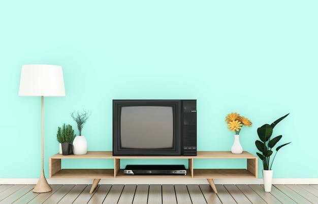 日本の居間のミントの壁にスマートテレビモックアップ。 3dレンダリング