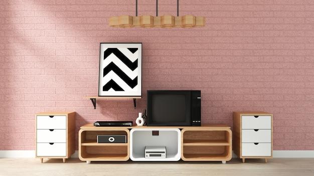 日本のリビングルームのピンクのレンガの壁のキャビネットモックアップ。 3dレンダリング