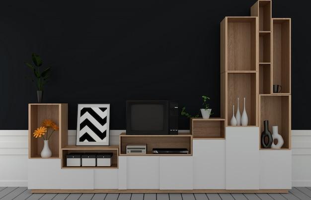 Тв на шкафу в современной пустой комнате, темной черной стене на деревянном полу, 3d-рендеринга