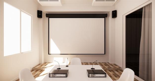 オフィスビジネス - 美しい会議室会議室と会議用テーブル、モダンなスタイル。 3dレンダリング