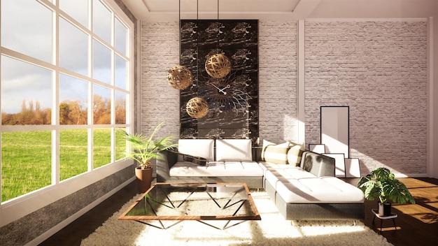 オープンプランのモダンなアパートメントとして設計されたロフトのモダンなインテリア。 3dレンダリング