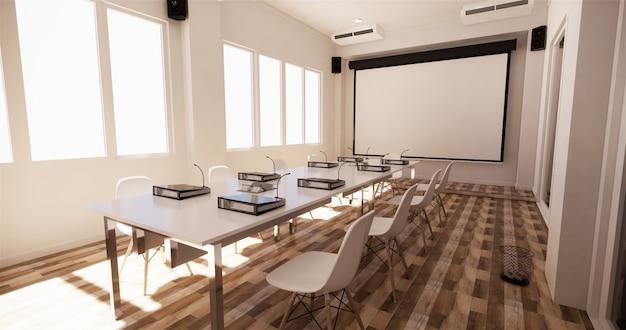 Офисный бизнес - прекрасный конференц-зал и конференц-стол, современный стиль. 3d рендеринг