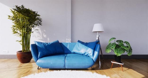 Современный интерьер живущей комнаты с софой и зелеными растениями, софой на стене. 3d-рендеринг