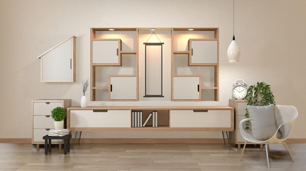 Шкаф и украшения в современной комнате дзэн пустые, минимальная конструкция полки стены, 3d-рендеринга