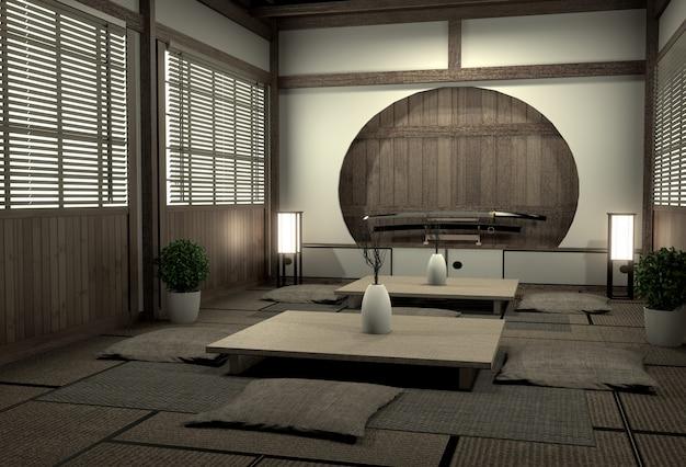 オリジナルルーム和風、昭和時代、最高の和のルームデザイナーによるデザイン。3dレンダリング