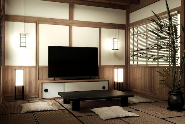 日本のリビング禅デザインのモックアップ。3dレンダリング
